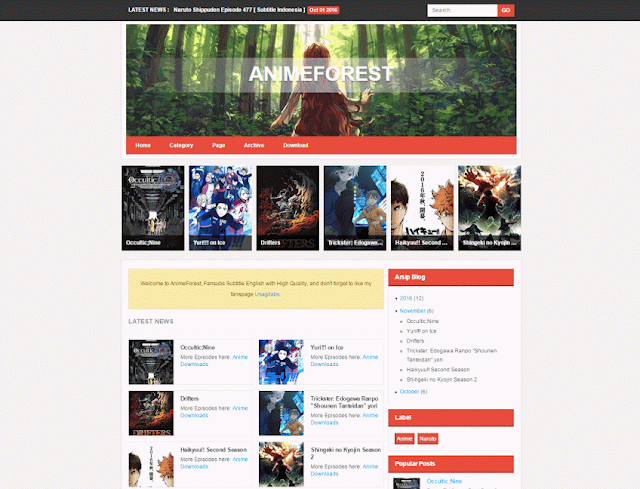 AnimeForest Blogger Template