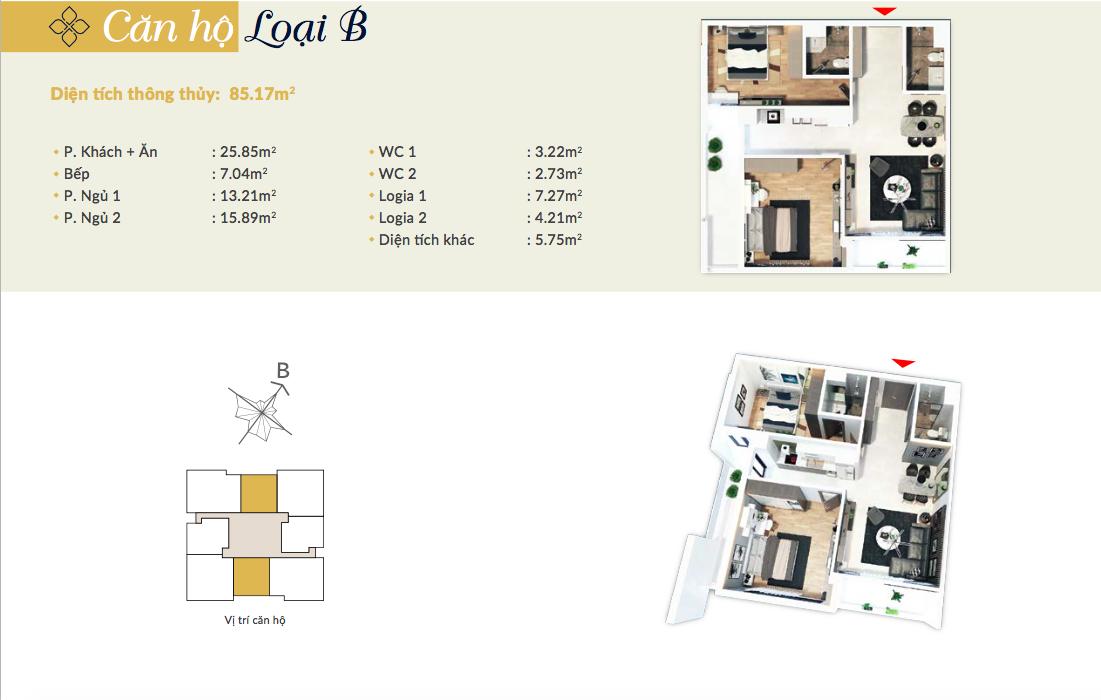 Thiết kế căn hộ loại B chung cư Bohemia Residence