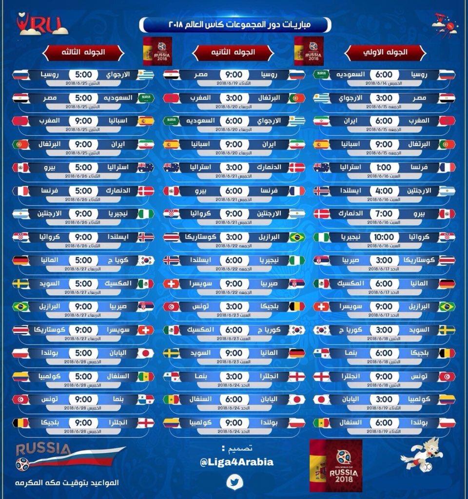 مواعيد مباريات كأس العالم 2018 روسيا
