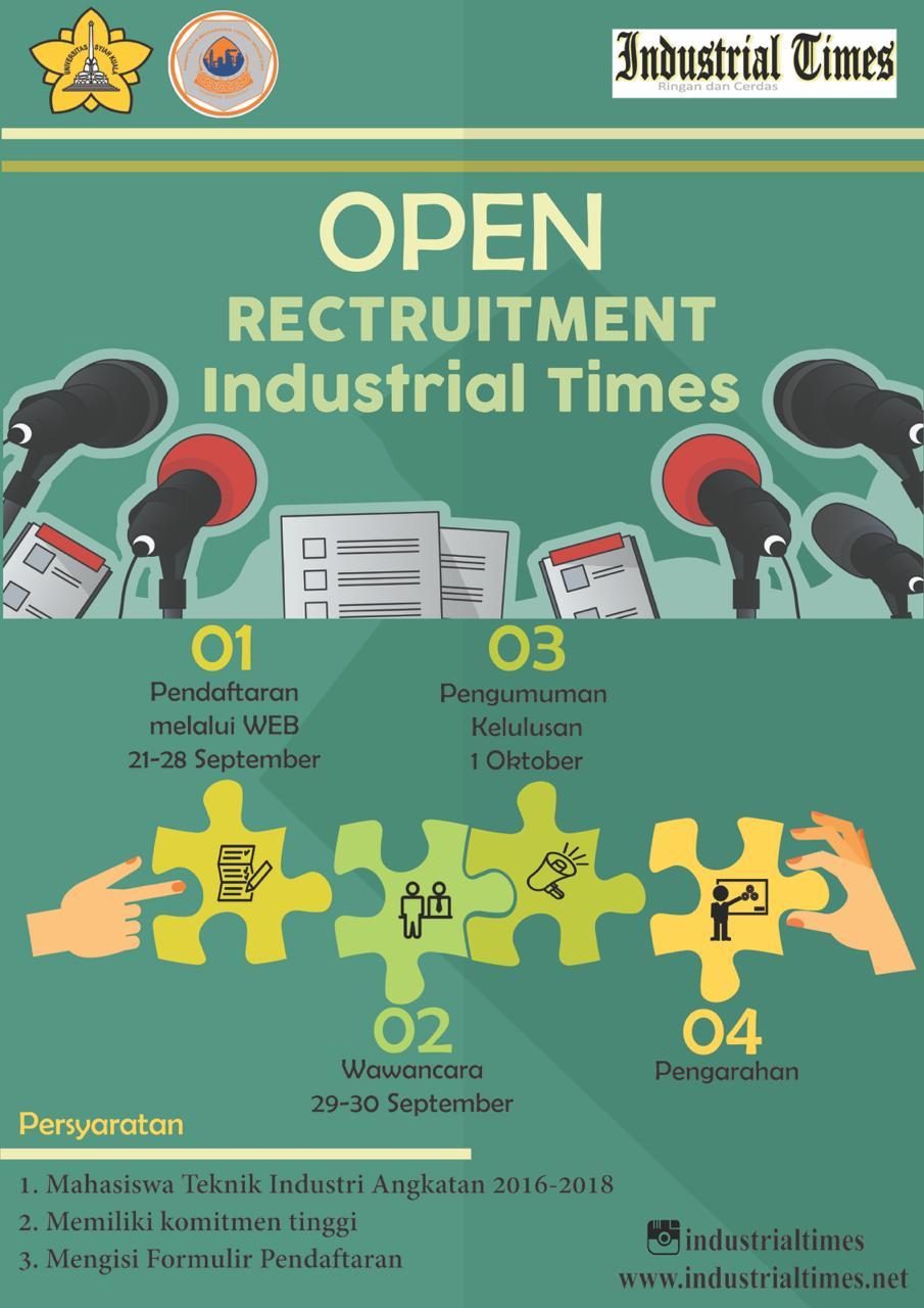 Open Recruitment Anggota Baru Industrial Times Periode 2018 2019