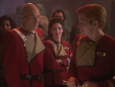 """TWOK-era """"Monster Maroon"""" uniform worn by Ensign Picard and friends"""
