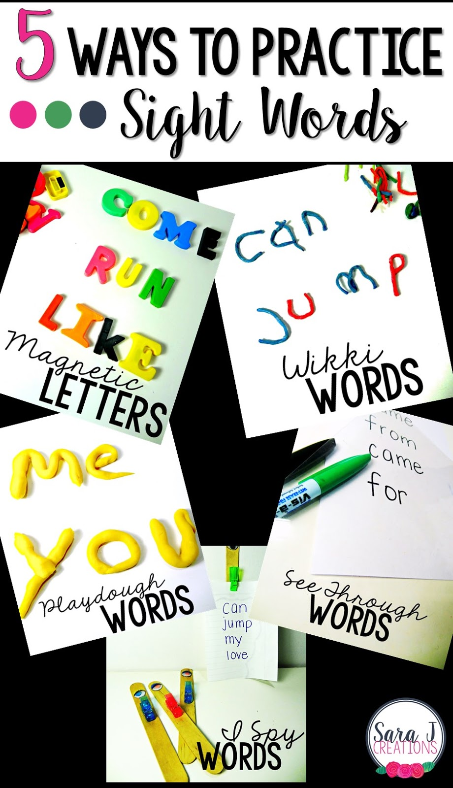 Five ideas for practicing sight words in a hands on fun way! Also includes free printables!