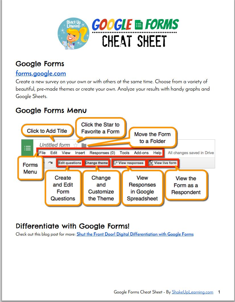a new wonderful google forms cheat sheet for teachers educational