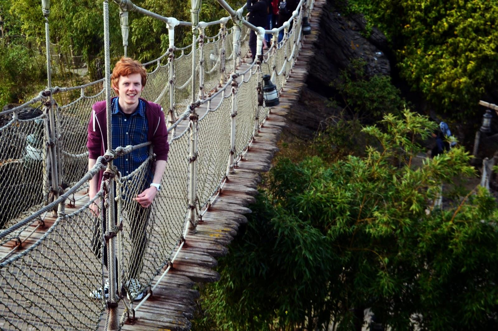 Sean standing on the rope bridge we had just crossed