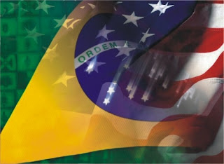 Bandeira do Brasil e USA