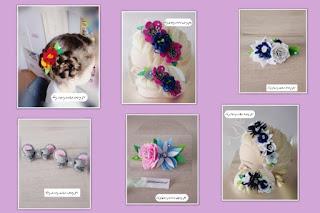Ozdoby z filcu,opadki z kwiatami,spinki dla dzieci,spinki kwiaty