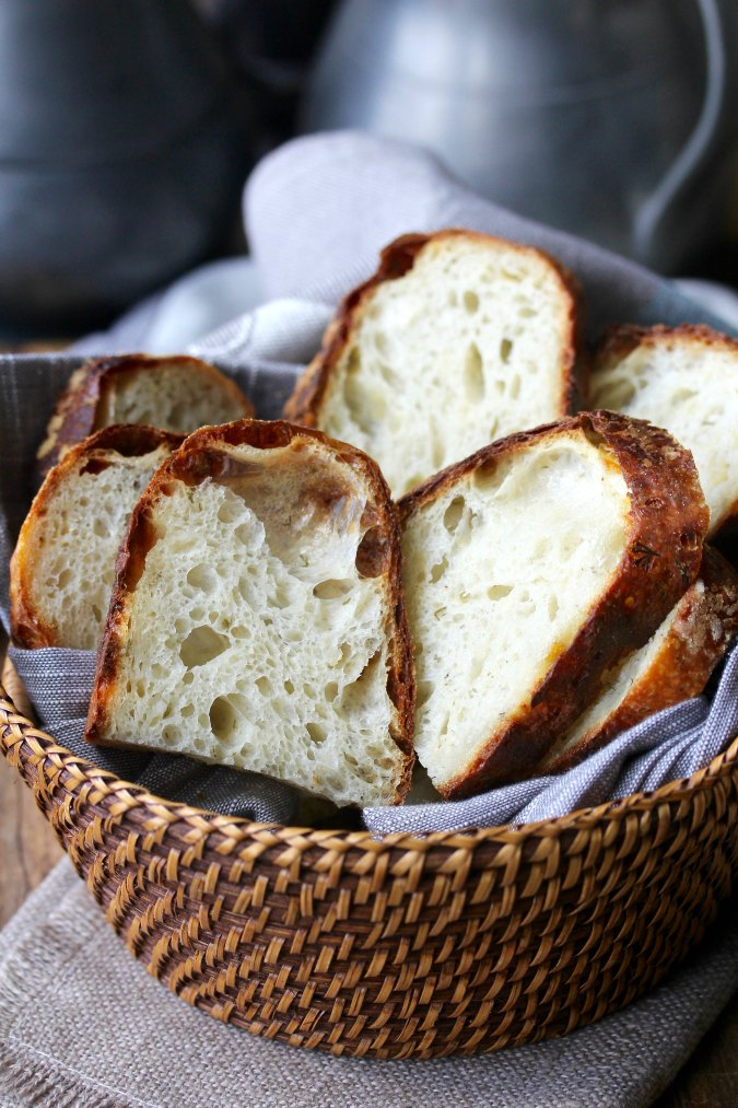 Dill and White Cheddar Sourdough Bread slices