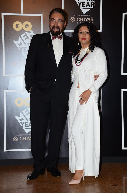 Kabir Bedi with Parveen Dusanj at GQ Men of the Year Awards 2016 to celebrate GQ's 8th Anniversary