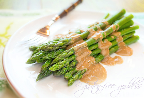 Asparagus with tahini maple dressing is vegan and gluten free