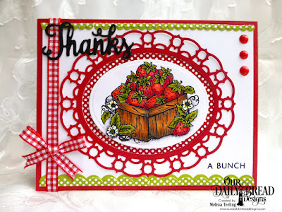 Our Daily Bread Designs: Thanks For Everything Stamp/Die Duos, Strawberries, Our Daily Bread Designs Custom Dies: Layered Lacey Ovals, Ovals, Bitty Borders, Our Daily Bread Designs Paper Collections: Birthday Brights, Old Glory Pape
