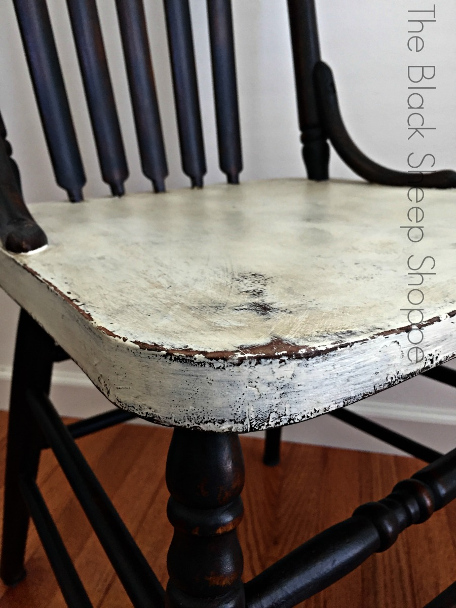 Distressed painted white chair seat