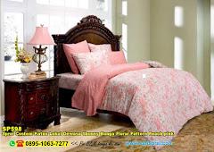 Sprei Custom Katun Lokal Dewasa Shunny Bunga Floral Pattern Peach Pink