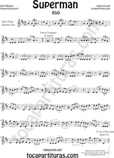 Soprano Sax y Saxo Tenor Partitura de Superman Sheet Music for Soprano Sax and Tenor Saxophone Music Scores