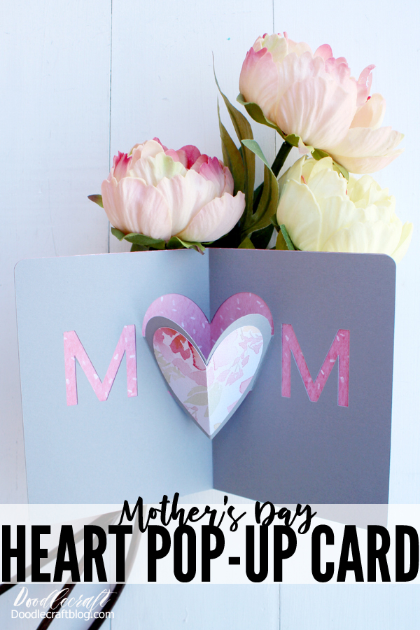 In just 15 minutes you can have a stunning heart pop up card made for mom on Mother's day using the Cricut Maker.
