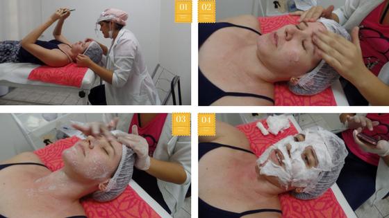 limpando a pele com adcos