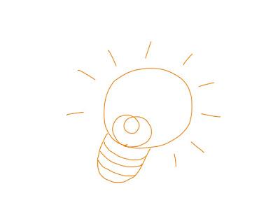 アイコン 「電球」 (作: 塚原 美樹) ~ 光っている様子を線で表現する