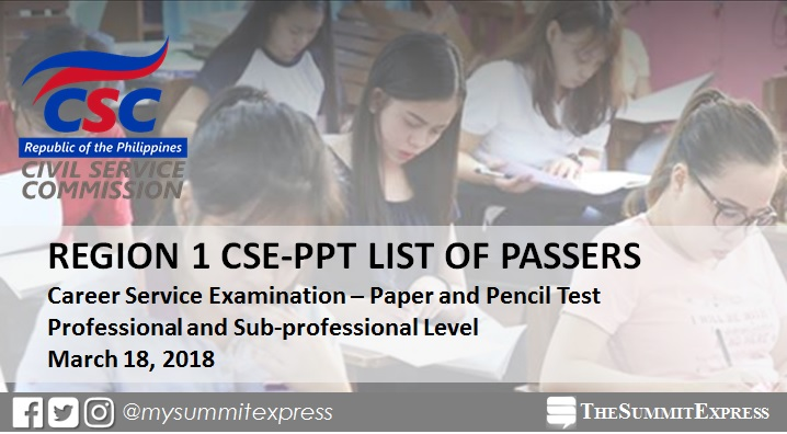 March 2018 civil service exam (CSE-PPT) results: Region 1 passers