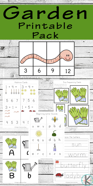 FREE Garden Worksheets for Kids - free printable printables to help preschool, prek, kindergarten, and first grade practice counting, alphabet letters, gardening words, sorting by size, skip counting, math practice, addition, and so much more. #worksheetsforkids #preschool #kindergarten