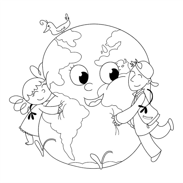 earth day colouring images for kids