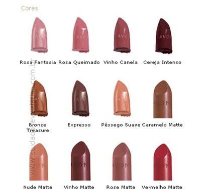 Cores dos Batons Ultra Color Rich Avon