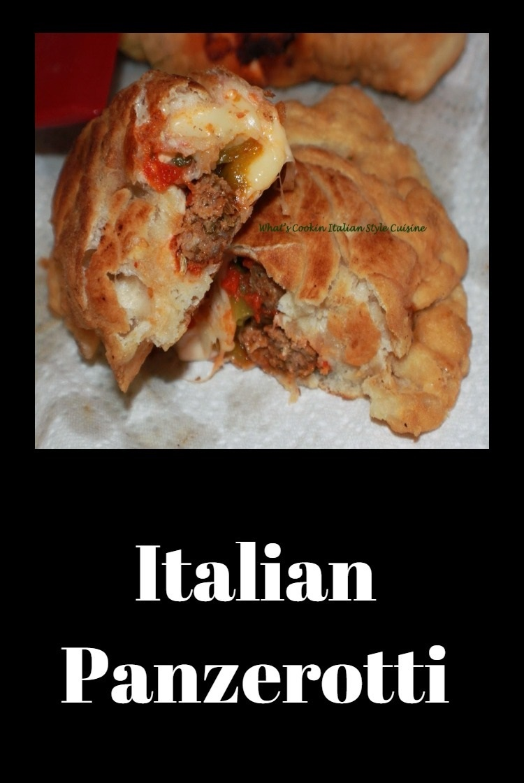 Panzerotti is a stuffed fried dough with italian meats, cheese and fried with sauce in it. It is like an inside put pizza