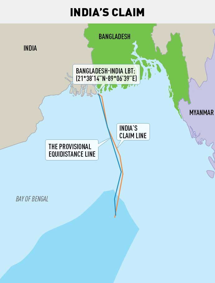Bay of Bengal Dispute Map Claim by India