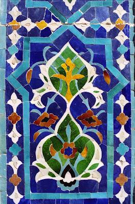 Ouzbékistan, Samarcande, Registan, mosaïque, © Louis Gigout, 1999