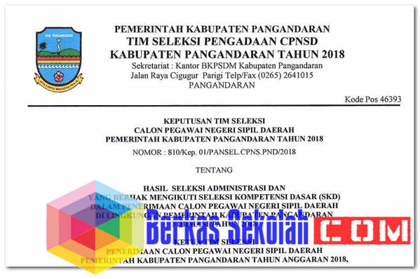 Pengumuman Seleksi Administrasi CPNSD Pangandaran 2018