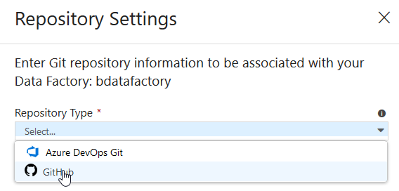 Azure Data Factory integration with GitHub