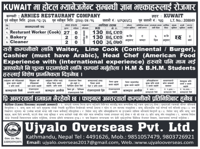 Jobs in Kuwait for Nepali, Salary Rs 46,890