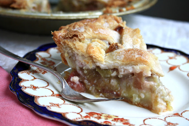 Mom's rhubarb pie, sweet, tart and almost creamy with a little nutmeg as the secret ingredient.