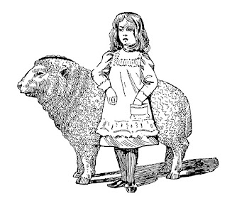 girl lamb illustration digital clip art