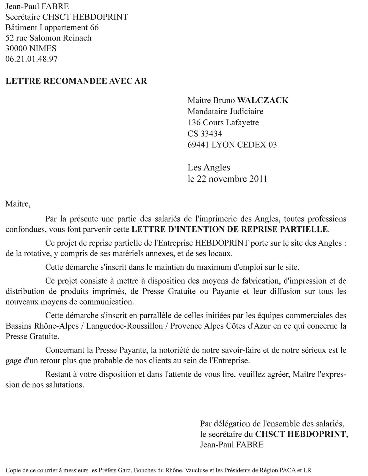 lettre information clients reprise entreprise