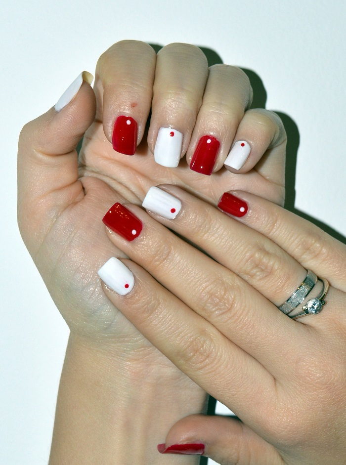 beauty, #beauty, #nails, nails, nail art, nail design, natural nails, diy nails, red and white nails, dotted nails