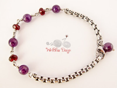 Wire Wrapped Stainless Steel Minima Bracelet (Minlet) with Amethyst and Garnet