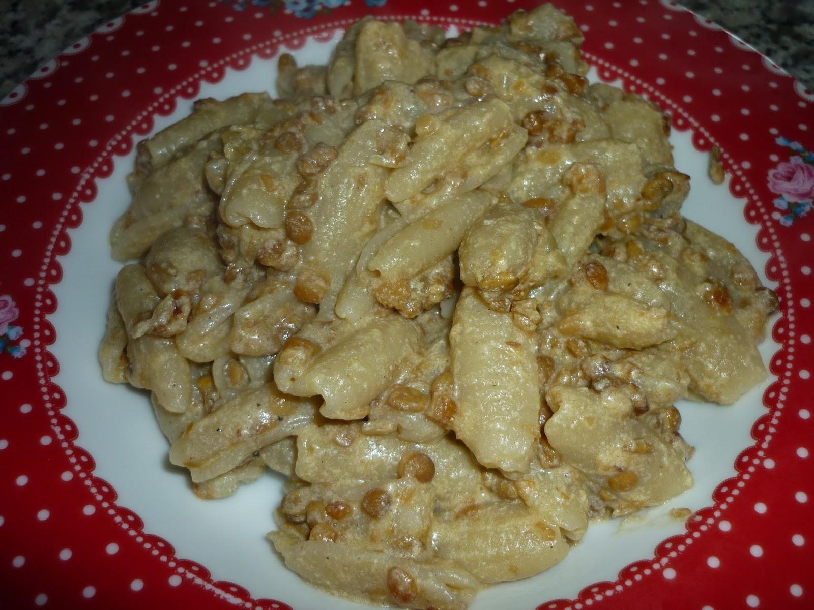 pasta senza glutine con panna e lenticchie