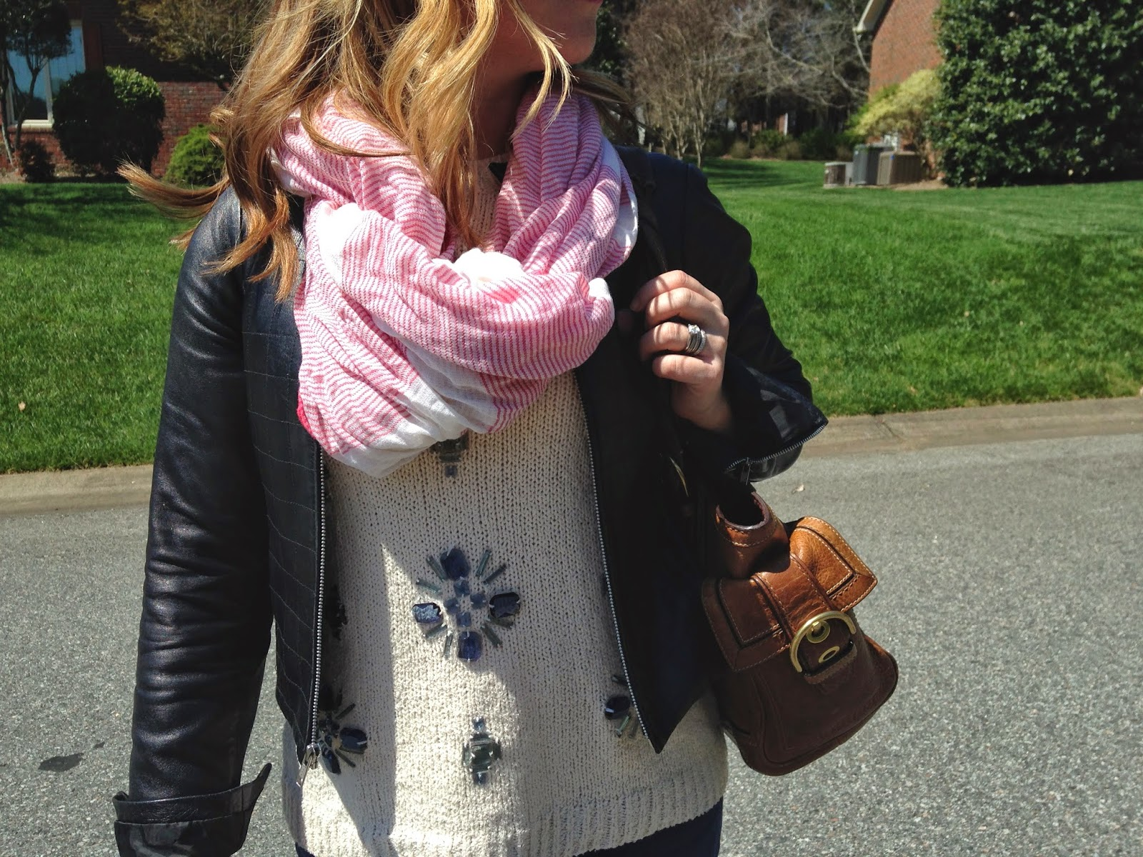 cropped pants, spring sweater, leather moto jacket, jcrew, coach, valentino, rockstuds