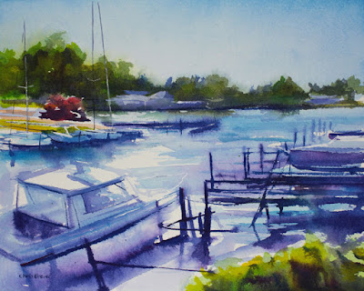 A watercolor painting of boats at Newfane marina, NY.