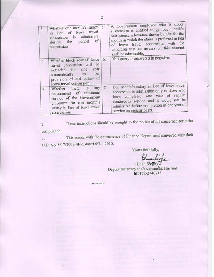 Application Form LTC Rules Haryana Leave travel Concession
