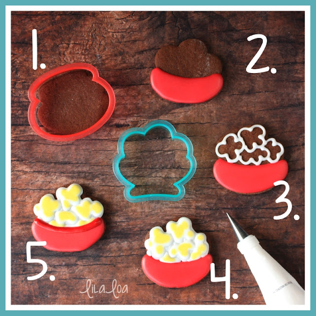 Step-by-step popcorn bowl sugar cookie decorating tutorial