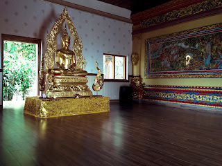 Budha Statue And Wall Relief Of Buddha Story Room Of Brahmavihara Arama Monastery North Bali