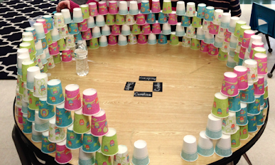 cup stacking around the table