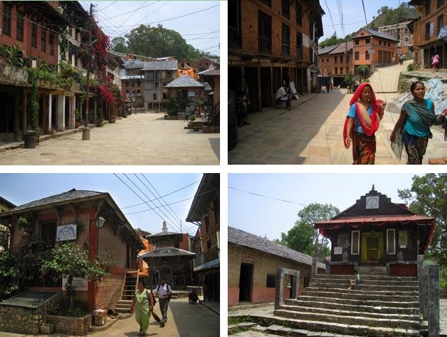 Arriba, la calle principal de Bandipur; abajo, los templos Bindebasini (izda.) y Khadga Devi (dcha.)