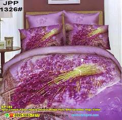 Sprei Custom Katun Jepang Dewasa Bunga Paris Eifel Lavender Ungu Violet
