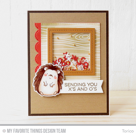 Handmade card from Torico featuring Essential Sentiments stamp set, Birdie Brown Happy Hedgehog stamp set and Die-namics, Scattered Surface Background and Whimsical Woodgrain Background stamps, Stitched Scallop Edges, Single Stitch Line Square Frames, Stitched Square STAX, and Tag Builder Blueprints 5 Die-namics #mftstamps