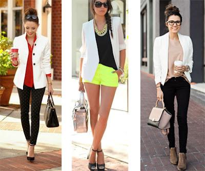 3 Looks: Calças pretas com bolinhas brancas, blazer branco, blusa vermelha e sapatos pretos | Blazer branco, t-shirt e sandálias pretas e calções amarelos | Calças pretas, blazer branco, botins e blusa bege.
