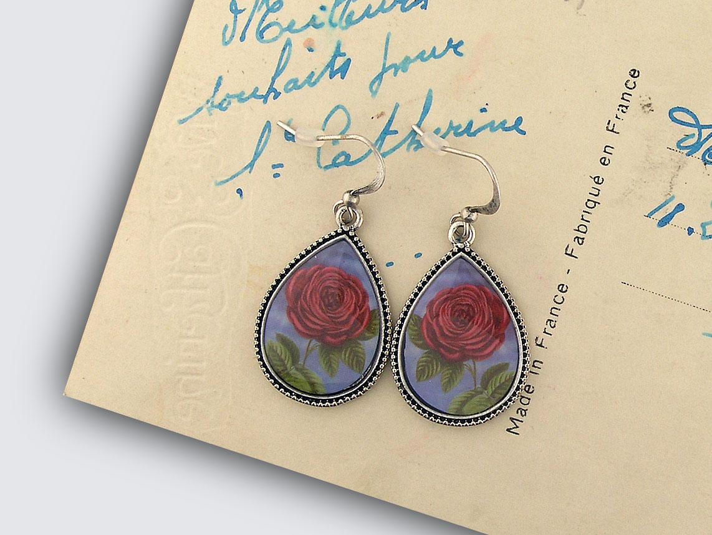 LAVISHY vintage style handmade earrings feature red rose print