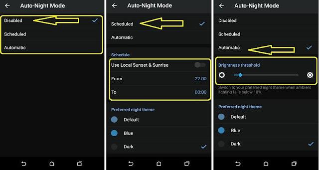 cara aktifkan night mode di telegram otomatis