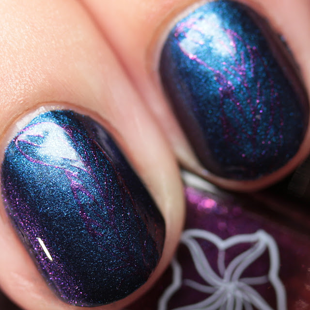 Moonflower Polish Selene stamped over Mystique using Hehe 38