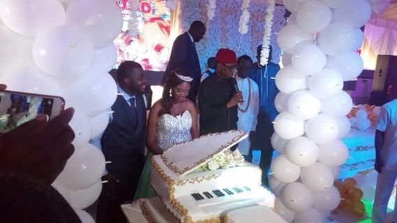 Photos: Delta state governor, his wife Edith, Sen David Mark, others attend the wedding of Senator James Manager's son